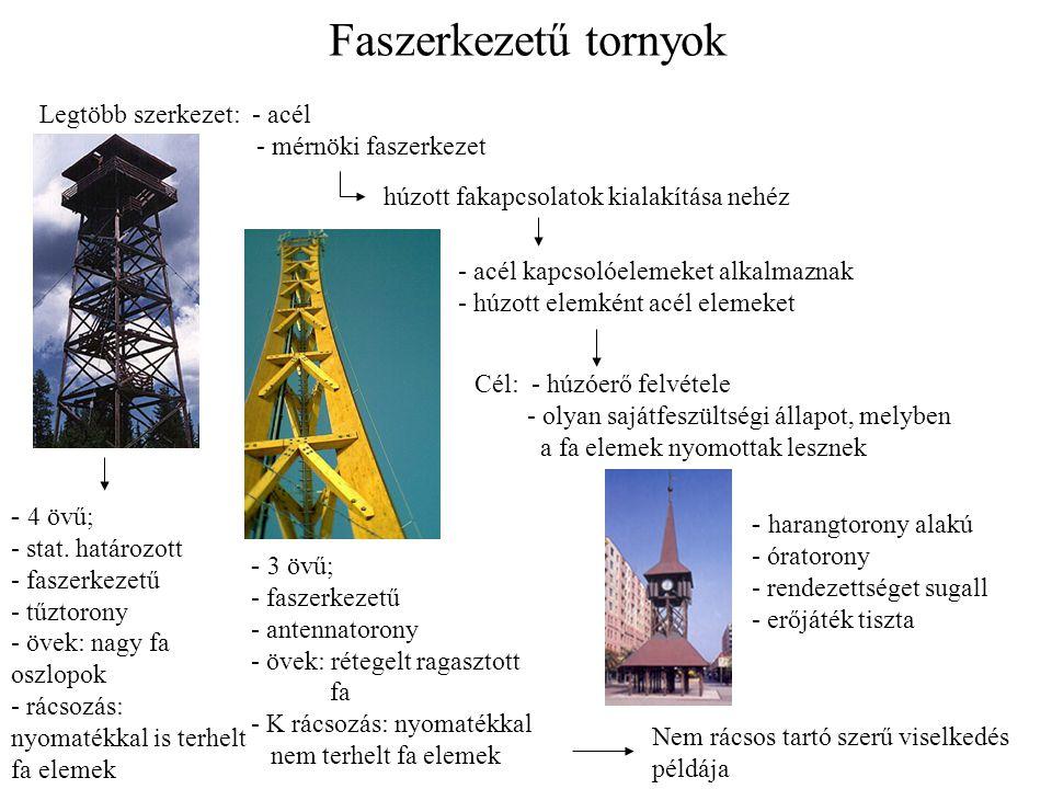 Faszerkezetű tornyok Legtöbb szerkezet: - acél - mérnöki faszerkezet húzott fakapcsolatok kialakítása nehéz - acél kapcsolóelemeket alkalmaznak - húzo