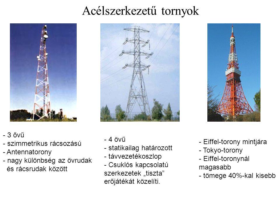 Acélszerkezetű tornyok - 3 ővű - szimmetrikus rácsozású - Antennatorony - nagy különbség az övrudak és rácsrudak között - 4 övű - statikailag határozo
