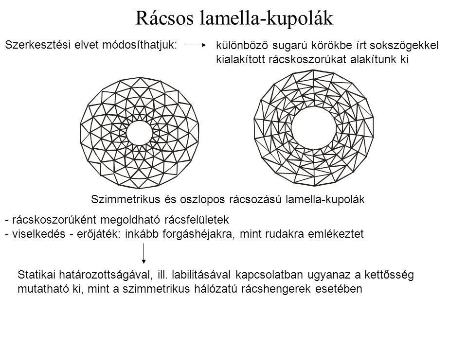 Rácsos lamella-kupolák Szimmetrikus és oszlopos rácsozású lamella-kupolák Szerkesztési elvet módosíthatjuk: különböző sugarú körökbe írt sokszögekkel