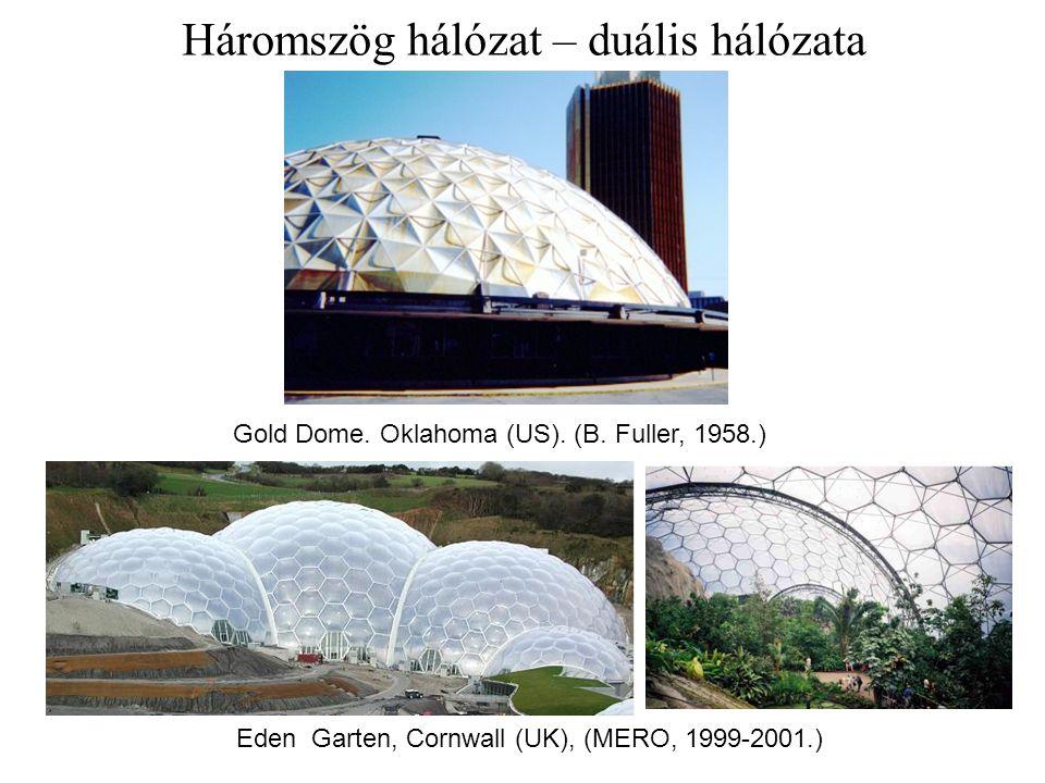 Gold Dome. Oklahoma (US). (B. Fuller, 1958.) Eden Garten, Cornwall (UK), (MERO, 1999-2001.) Háromszög hálózat – duális hálózata