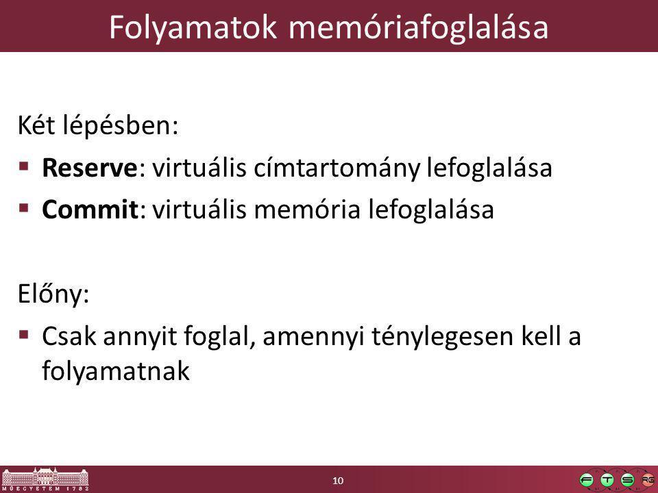 Folyamatok memóriafoglalása Két lépésben:  Reserve: virtuális címtartomány lefoglalása  Commit: virtuális memória lefoglalása Előny:  Csak annyit f