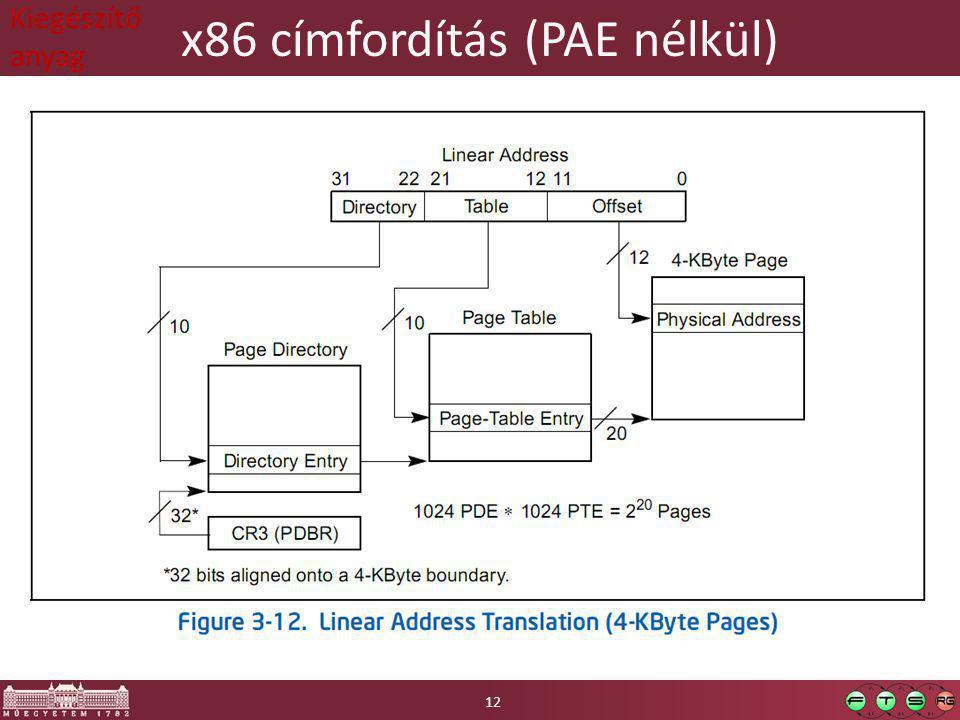 x86 címfordítás (PAE nélkül) 12 Kiegészítő anyag