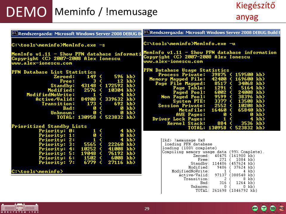 DEMO Meminfo / !memusage 29 Kiegészítő anyag