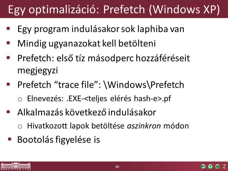 Egy optimalizáció: Prefetch (Windows XP)  Egy program indulásakor sok laphiba van  Mindig ugyanazokat kell betölteni  Prefetch: első tíz másodperc