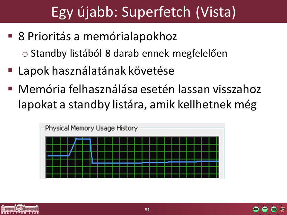 Egy újabb: Superfetch (Vista)  8 Prioritás a memórialapokhoz o Standby listából 8 darab ennek megfelelően  Lapok használatának követése  Memória fe
