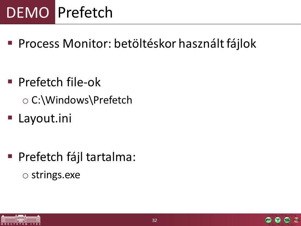 DEMO  Process Monitor: betöltéskor használt fájlok  Prefetch file-ok o C:\Windows\Prefetch  Layout.ini  Prefetch fájl tartalma: o strings.exe Prefetch 32