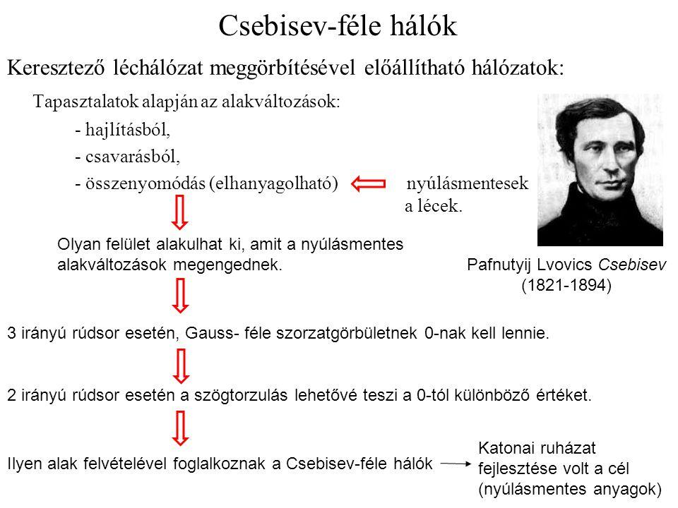 Csebisev-féle hálók Keresztező léchálózat meggörbítésével előállítható hálózatok: Tapasztalatok alapján az alakváltozások: - hajlításból, - csavarásbó
