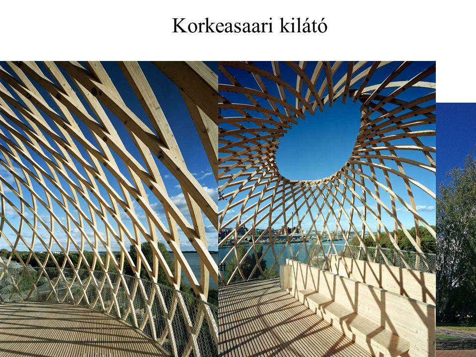 Korkeasaari kilátó 22 Kokkeasaari Sziget, Helsinki mellett. Finnország 2002. 72 db 60x60 mm-es rétegelt ragasztott fa lécek, 10m magas A léceket gyárb