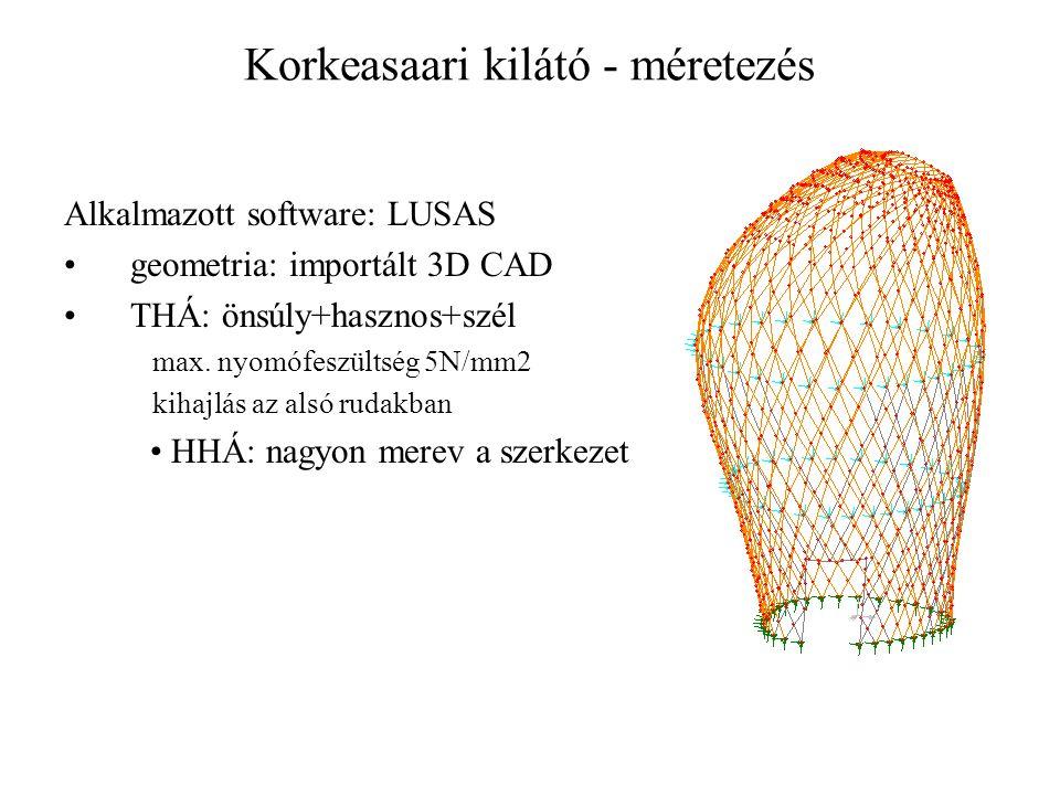 Korkeasaari kilátó - méretezés Alkalmazott software: LUSAS geometria: importált 3D CAD THÁ: önsúly+hasznos+szél max. nyomófeszültség 5N/mm2 kihajlás a