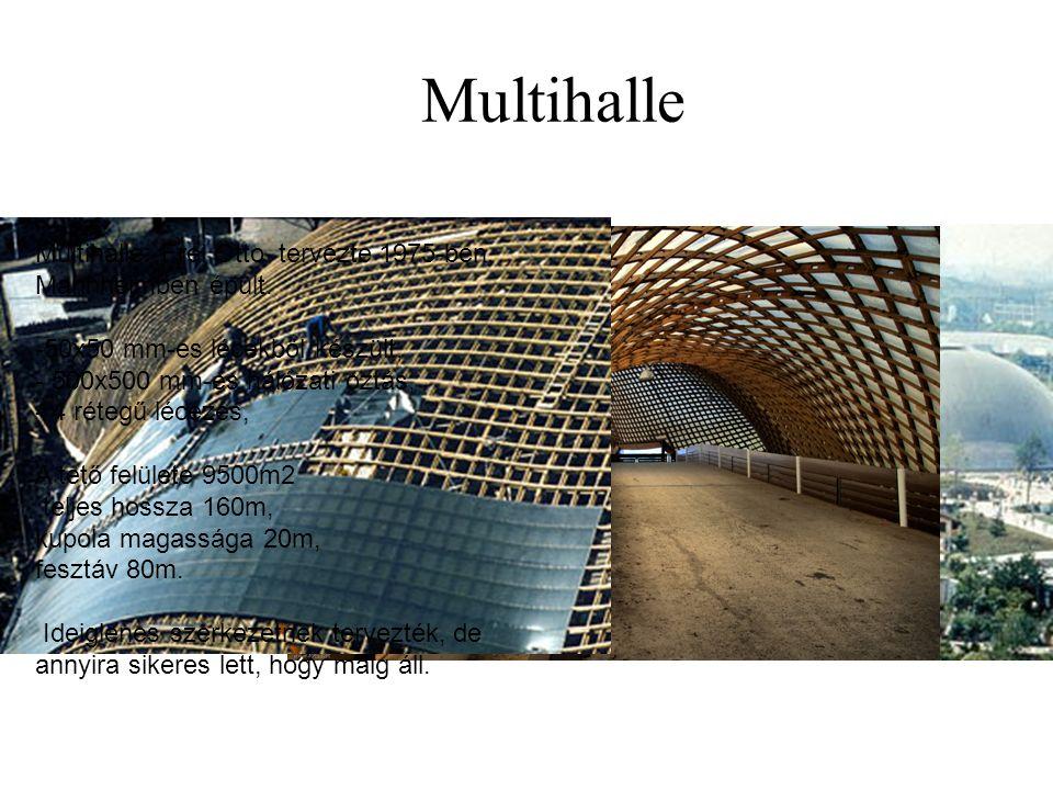 Multihalle Multihalle: Frei Otto tervezte 1975-ben, Mannheimben épült. -50x50 mm-es lécekből készült, - 500x500 mm-es hálózati oztás, - 4 rétegű lécez