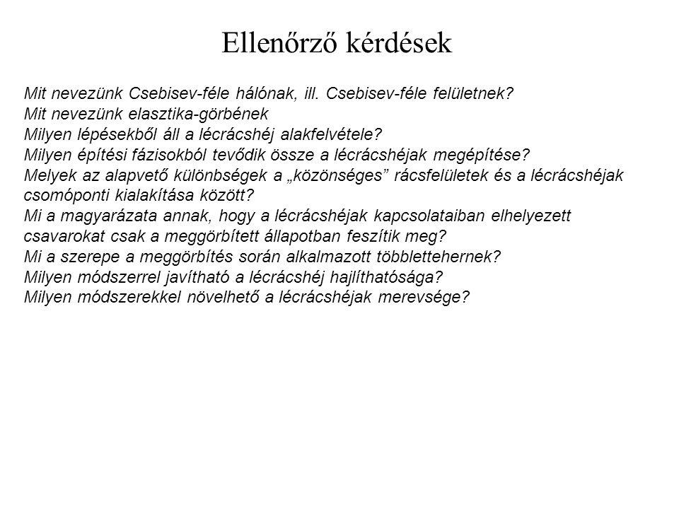 Ellenőrző kérdések Mit nevezünk Csebisev-féle hálónak, ill. Csebisev-féle felületnek? Mit nevezünk elasztika-görbének Milyen lépésekből áll a lécrácsh