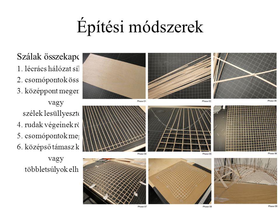 Építési módszerek Szálak összekapcsolása és a teljes szerkezet görbítése, mozgatása 1. lécrács hálózat síkba kiterítése kétirányú síkbeli hálózat 2. c