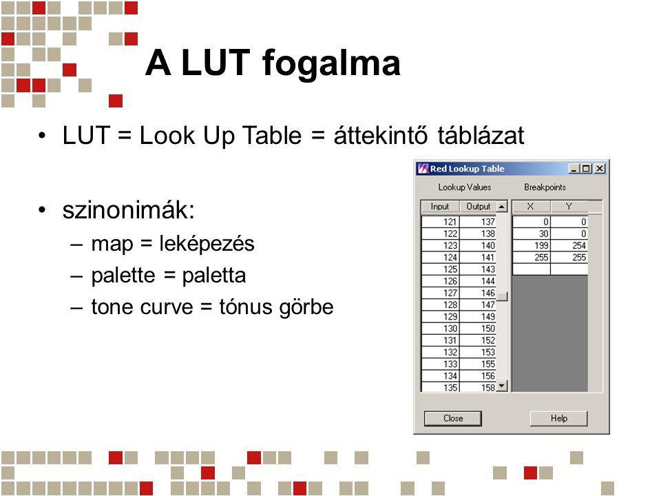 A LUT fogalma LUT = Look Up Table = áttekintő táblázat szinonimák: –map = leképezés –palette = paletta –tone curve = tónus görbe