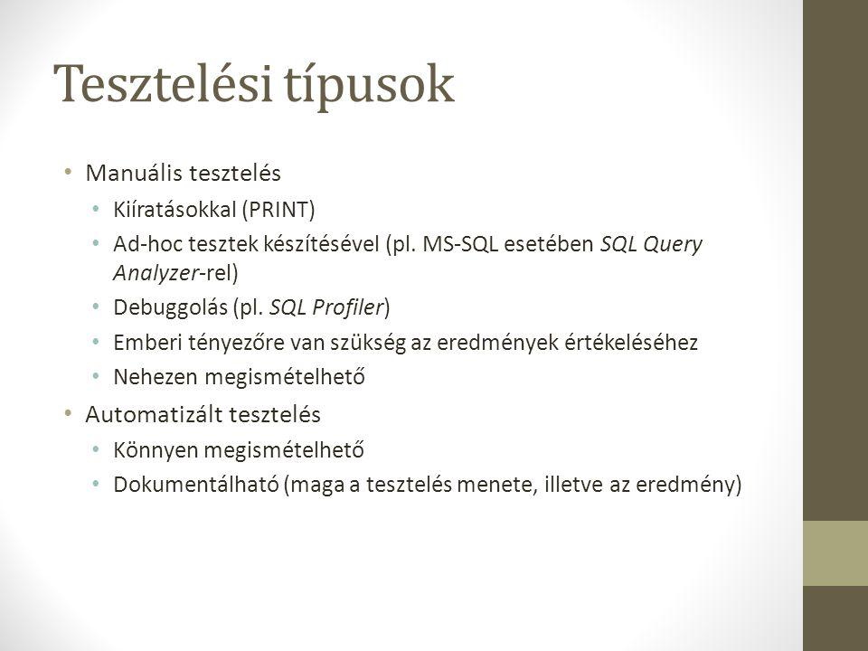 Tesztelési típusok Manuális tesztelés Kiíratásokkal (PRINT) Ad-hoc tesztek készítésével (pl. MS-SQL esetében SQL Query Analyzer-rel) Debuggolás (pl. S