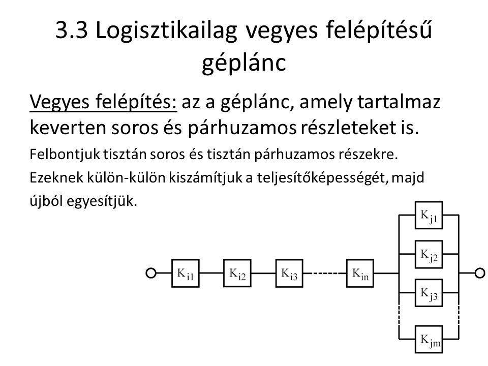 3.3 Logisztikailag vegyes felépítésű géplánc Vegyes felépítés: az a géplánc, amely tartalmaz keverten soros és párhuzamos részleteket is.
