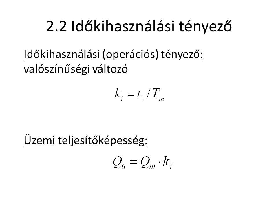 2.2 Időkihasználási tényező Időkihasználási (operációs) tényező: valószínűségi változó Üzemi teljesítőképesség: