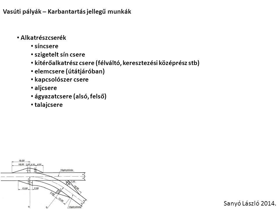 Vasúti pályák – Karbantartás jellegű munkák Sanyó László 2014. Alkatrészcserék síncsere szigetelt sín csere kitérőalkatrész csere (félváltó, keresztez