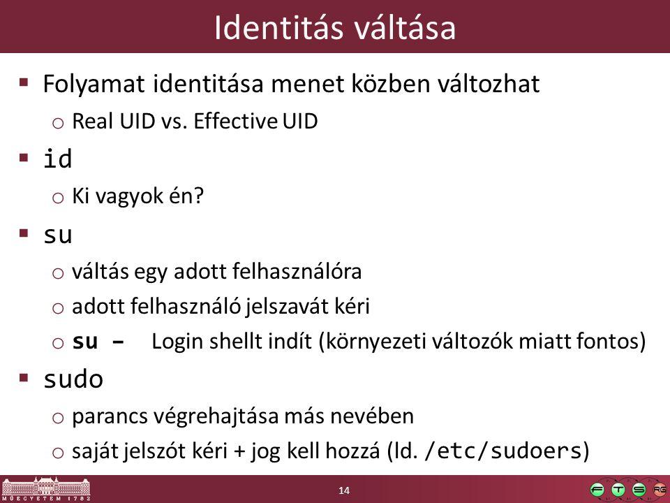 Identitás váltása  Folyamat identitása menet közben változhat o Real UID vs. Effective UID  id o Ki vagyok én?  su o váltás egy adott felhasználóra