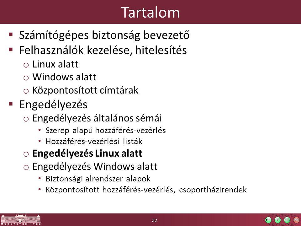 Tartalom  Számítógépes biztonság bevezető  Felhasználók kezelése, hitelesítés o Linux alatt o Windows alatt o Központosított címtárak  Engedélyezés