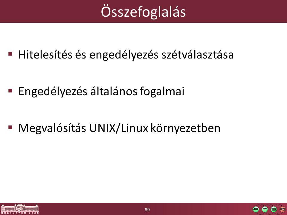 Összefoglalás  Hitelesítés és engedélyezés szétválasztása  Engedélyezés általános fogalmai  Megvalósítás UNIX/Linux környezetben 39