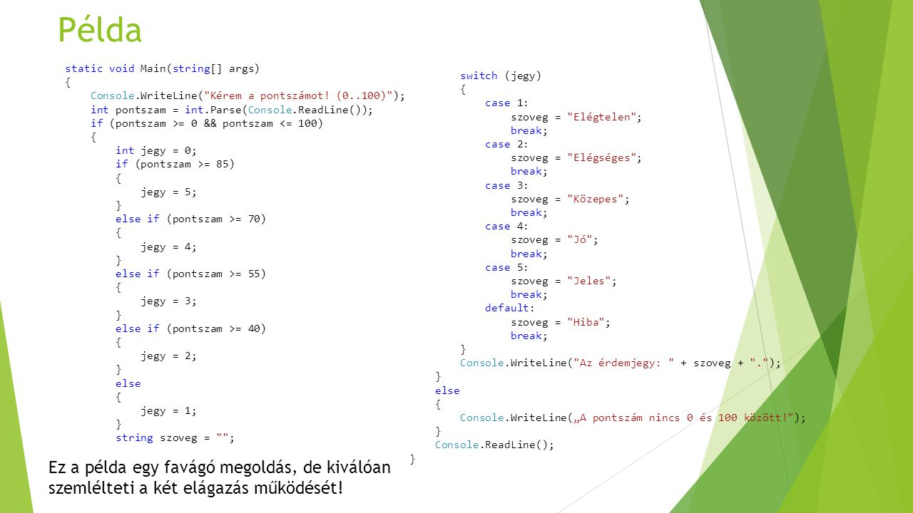 Példa static void Main(string[] args) { Console.WriteLine(