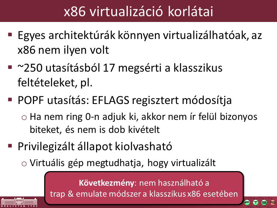 x86 virtualizáció korlátai  Egyes architektúrák könnyen virtualizálhatóak, az x86 nem ilyen volt  ~250 utasításból 17 megsérti a klasszikus feltétel