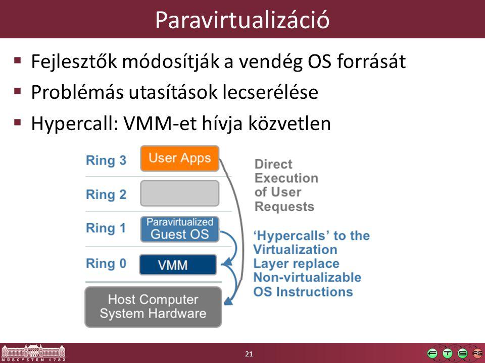 Paravirtualizáció  Fejlesztők módosítják a vendég OS forrását  Problémás utasítások lecserélése  Hypercall: VMM-et hívja közvetlen 21
