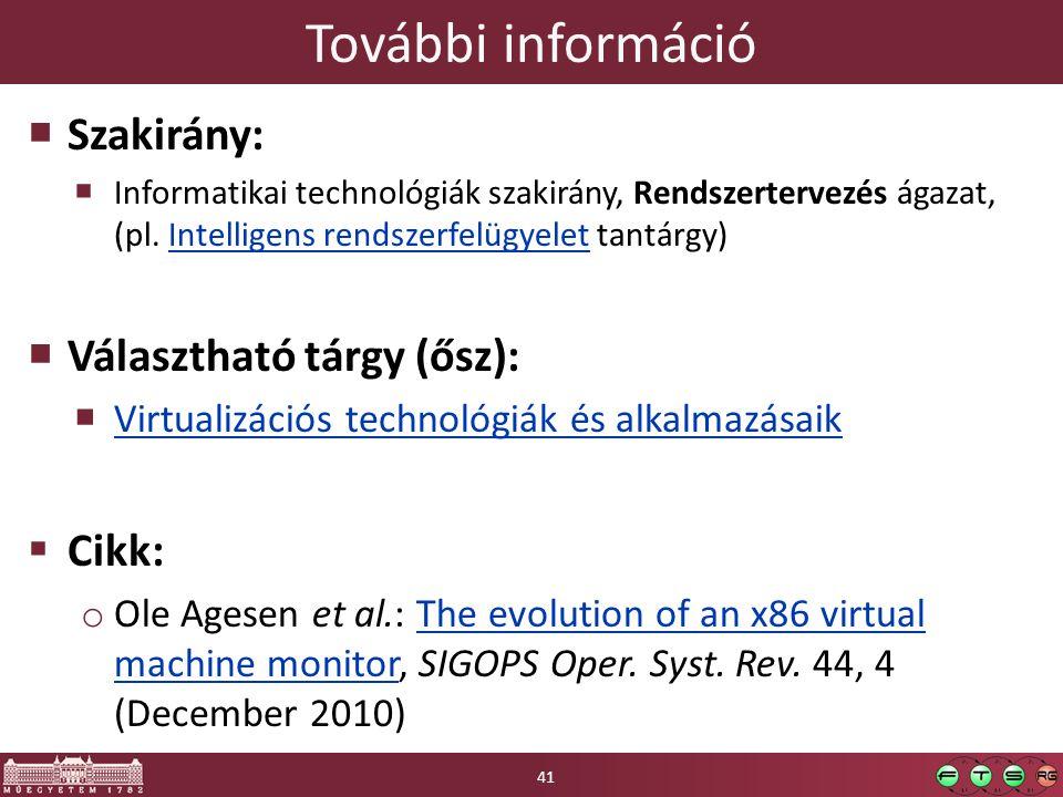 További információ  Szakirány:  Informatikai technológiák szakirány, Rendszertervezés ágazat, (pl. Intelligens rendszerfelügyelet tantárgy)Intellige