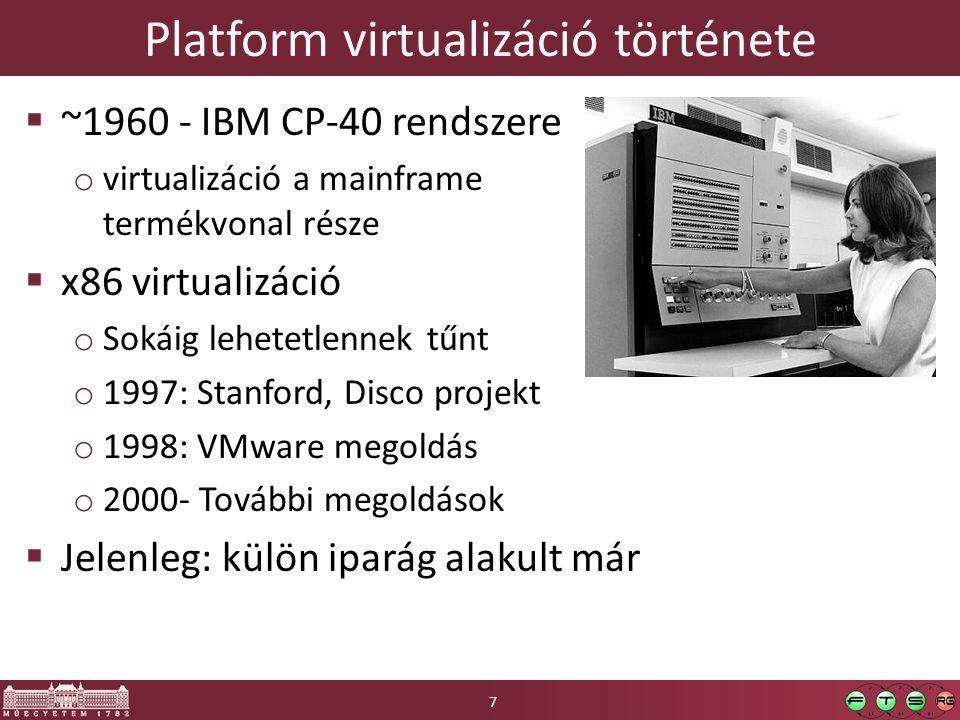 Platform virtualizáció története  ~1960 - IBM CP-40 rendszere o virtualizáció a mainframe termékvonal része  x86 virtualizáció o Sokáig lehetetlenne