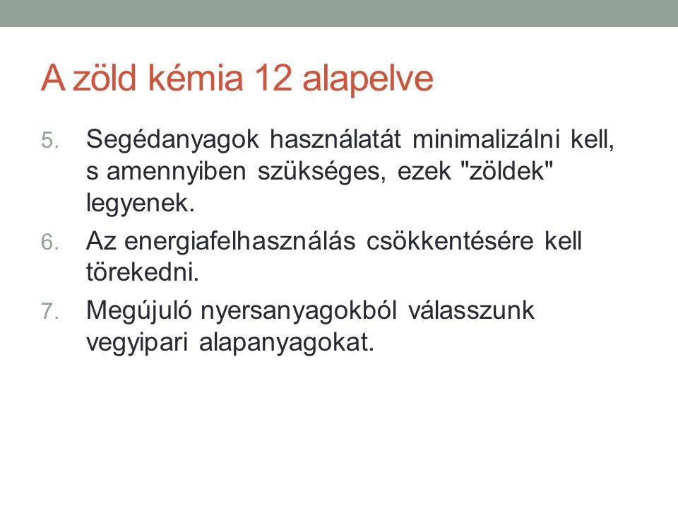 A zöld kémia 12 alapelve 5. Segédanyagok használatát minimalizálni kell, s amennyiben szükséges, ezek