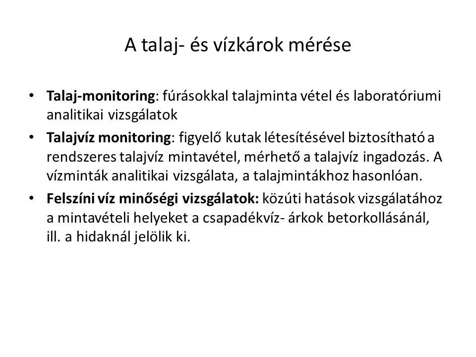 A talaj- és vízkárok mérése Talaj-monitoring: fúrásokkal talajminta vétel és laboratóriumi analitikai vizsgálatok Talajvíz monitoring: figyelő kutak l