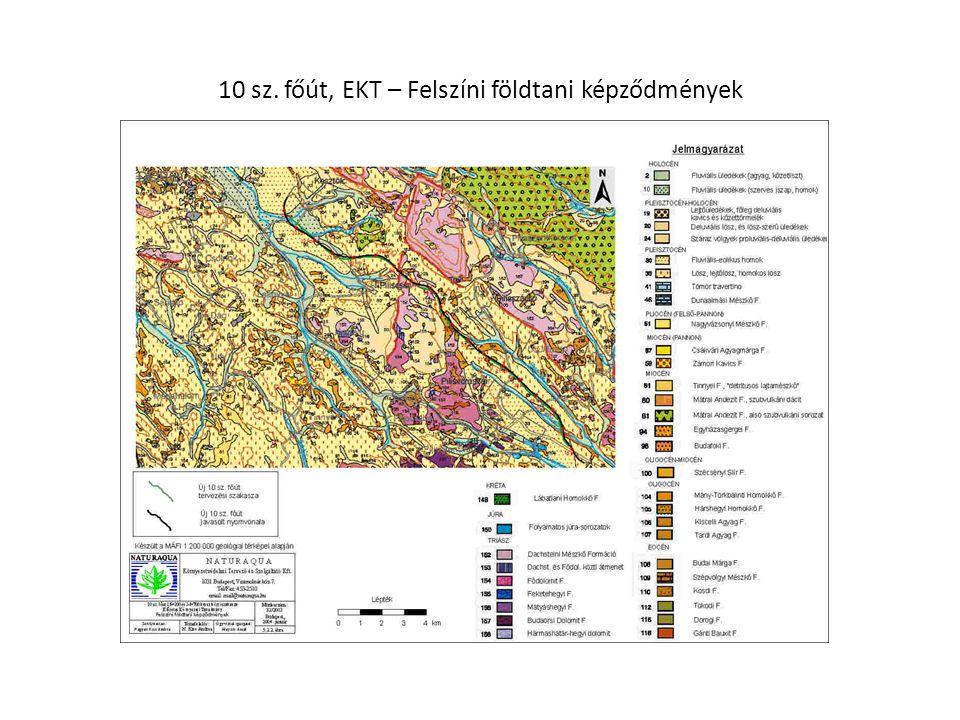 10 sz. főút, EKT – Felszíni földtani képződmények