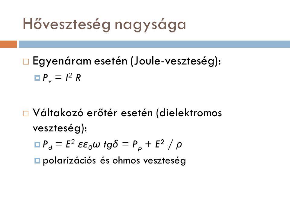 Hőveszteség nagysága  Egyenáram esetén (Joule-veszteség):  P v = I 2 R  Váltakozó erőtér esetén (dielektromos veszteség):  P d = E 2 εε 0 ω tg δ =