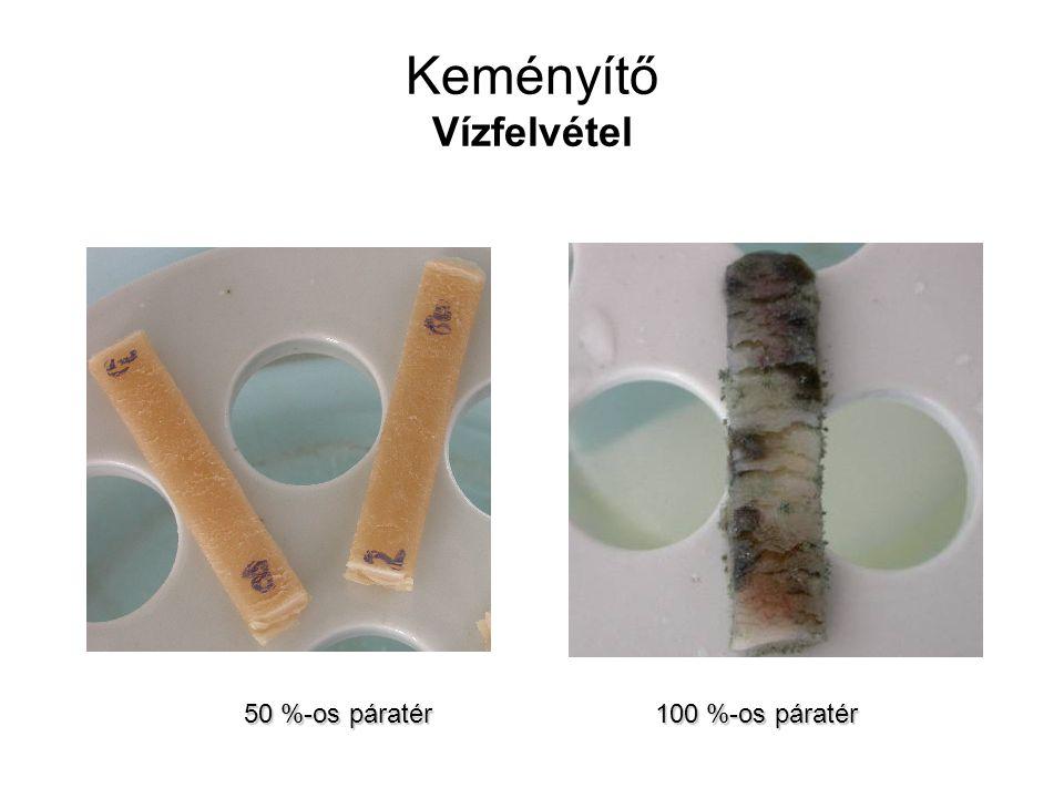 Vízfelvétel vizsgálata A minta: 4 g-os, 1-2 mm vastag préselt TPS lapok 50%-os párateret hoztak létre kénsavval (33%), illetve 100%-os párateret vízzel (exszikkátorban) A minta tömegének növekedését mérték óránként, majd naponta, hetente, ahogy csökkent a vízfelvétel sebessége Három hét múlva megjelentek a penészgombák, mely a biodegradálhatóság egyik bizonyítéka 30 nap alatt érte el a minta az egyensúlyi víztartalmat, ami kb.