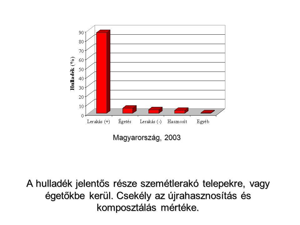 A hulladék jelentős része szemétlerakó telepekre, vagy égetőkbe kerül. Csekély az újrahasznosítás és komposztálás mértéke. Magyarország, 2003