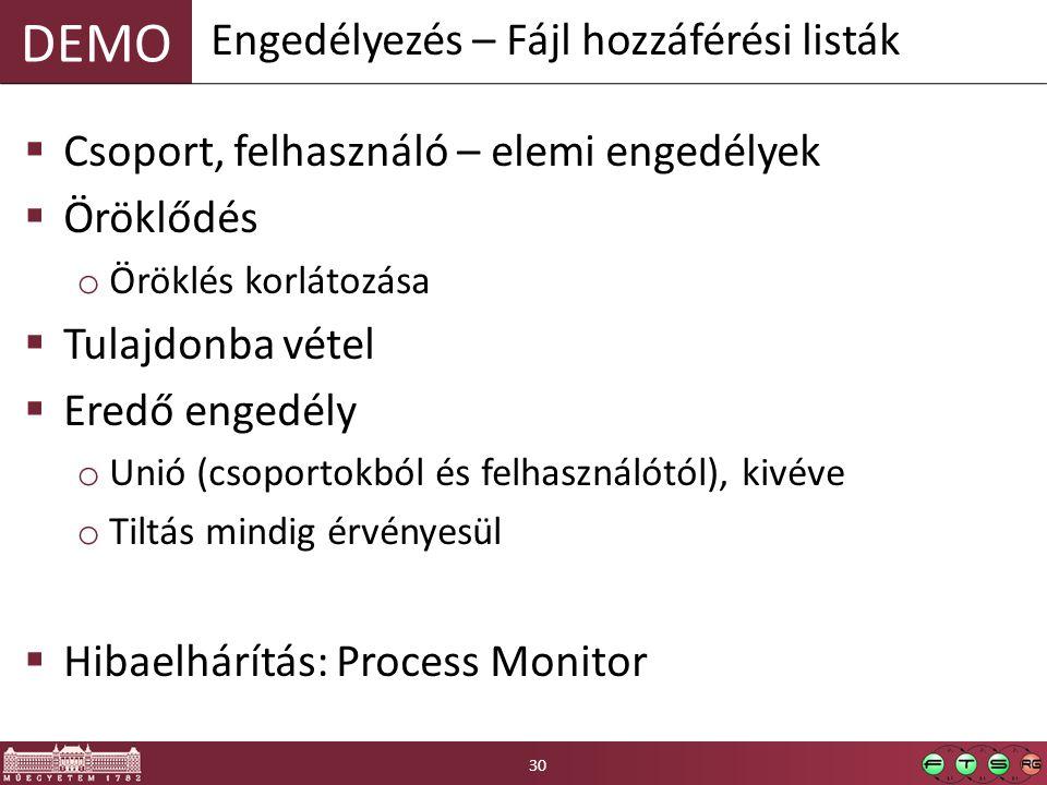 DEMO  Csoport, felhasználó – elemi engedélyek  Öröklődés o Öröklés korlátozása  Tulajdonba vétel  Eredő engedély o Unió (csoportokból és felhasználótól), kivéve o Tiltás mindig érvényesül  Hibaelhárítás: Process Monitor Engedélyezés – Fájl hozzáférési listák 30
