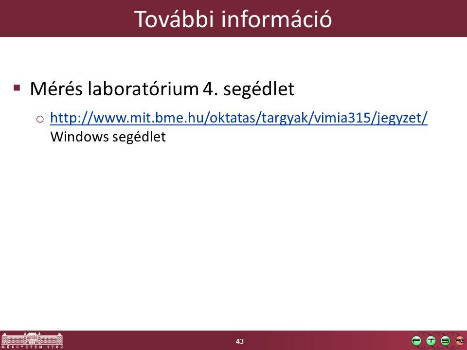 További információ  Mérés laboratórium 4.