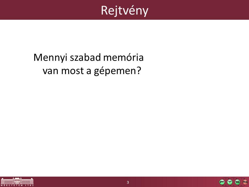 Rejtvény Mennyi szabad memória van most a gépemen 3