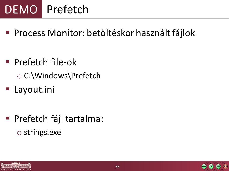 DEMO  Process Monitor: betöltéskor használt fájlok  Prefetch file-ok o C:\Windows\Prefetch  Layout.ini  Prefetch fájl tartalma: o strings.exe Prefetch 33