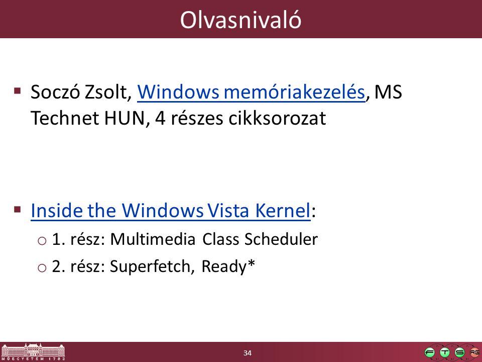 Olvasnivaló  Soczó Zsolt, Windows memóriakezelés, MS Technet HUN, 4 részes cikksorozatWindows memóriakezelés  Inside the Windows Vista Kernel: Inside the Windows Vista Kernel o 1.