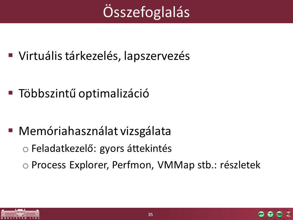 Összefoglalás  Virtuális tárkezelés, lapszervezés  Többszintű optimalizáció  Memóriahasználat vizsgálata o Feladatkezelő: gyors áttekintés o Process Explorer, Perfmon, VMMap stb.: részletek 35