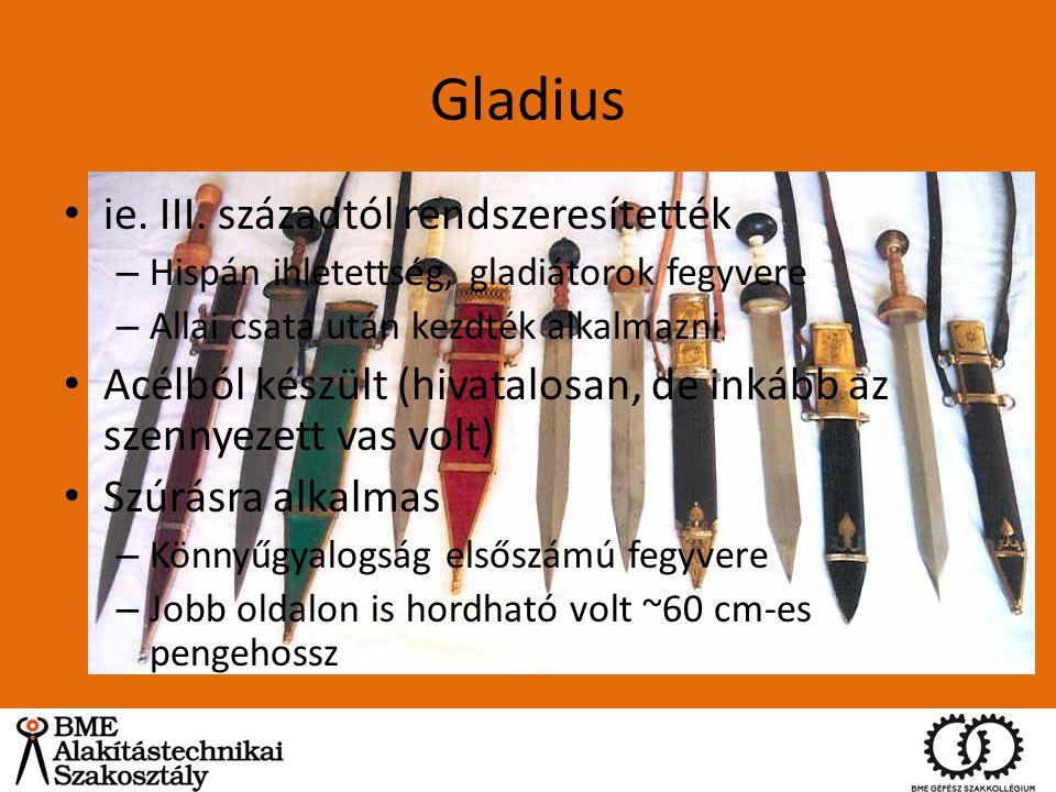 Gladius ie. III. századtól rendszeresítették – Hispán ihletettség, gladiátorok fegyvere – Allai csata után kezdték alkalmazni Acélból készült (hivatal