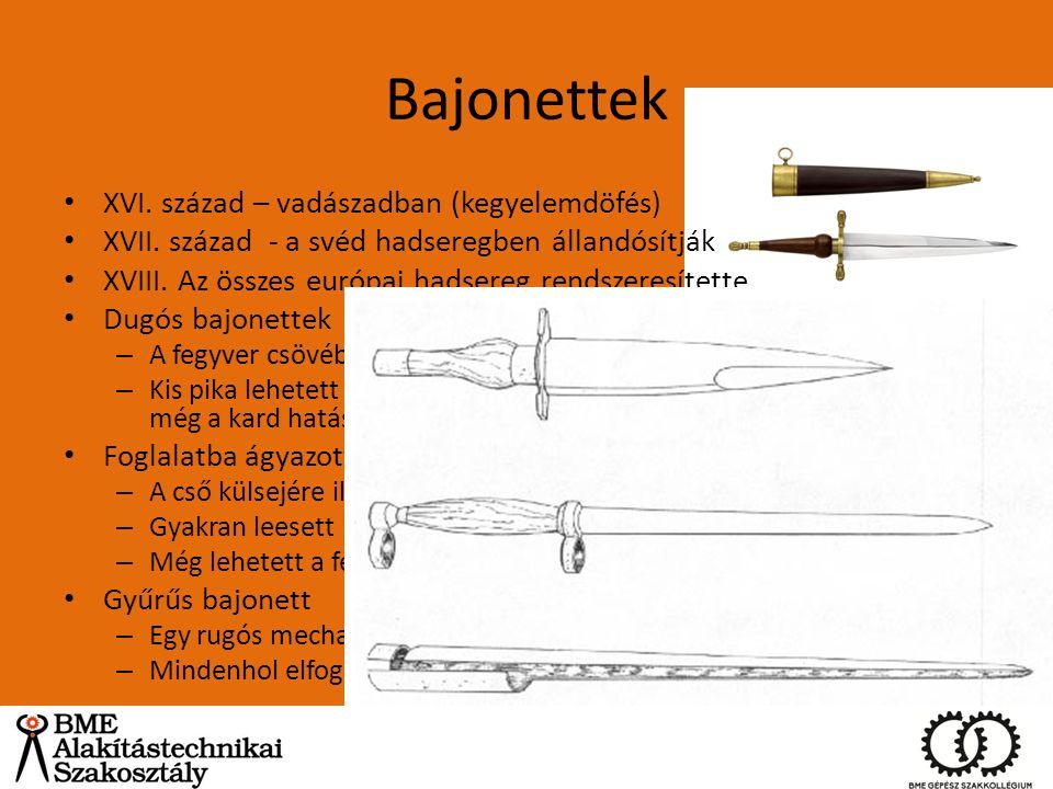 Bajonettek XVI. század – vadászadban (kegyelemdöfés) XVII. század - a svéd hadseregben állandósítják XVIII. Az összes európai hadsereg rendszeresített