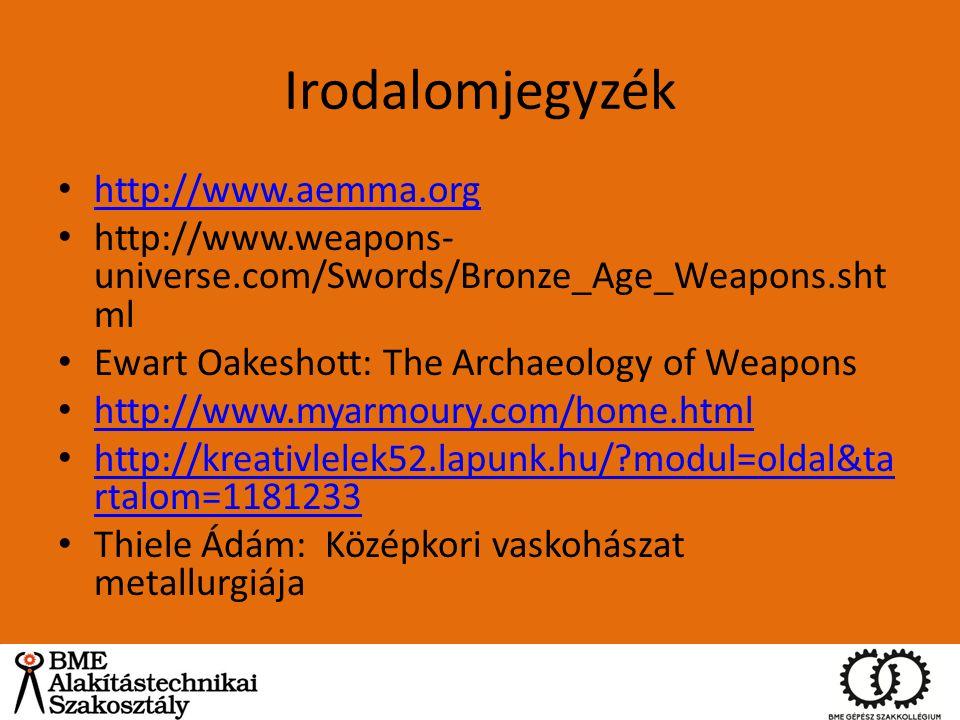 Irodalomjegyzék http://www.aemma.org http://www.weapons- universe.com/Swords/Bronze_Age_Weapons.sht ml Ewart Oakeshott: The Archaeology of Weapons htt