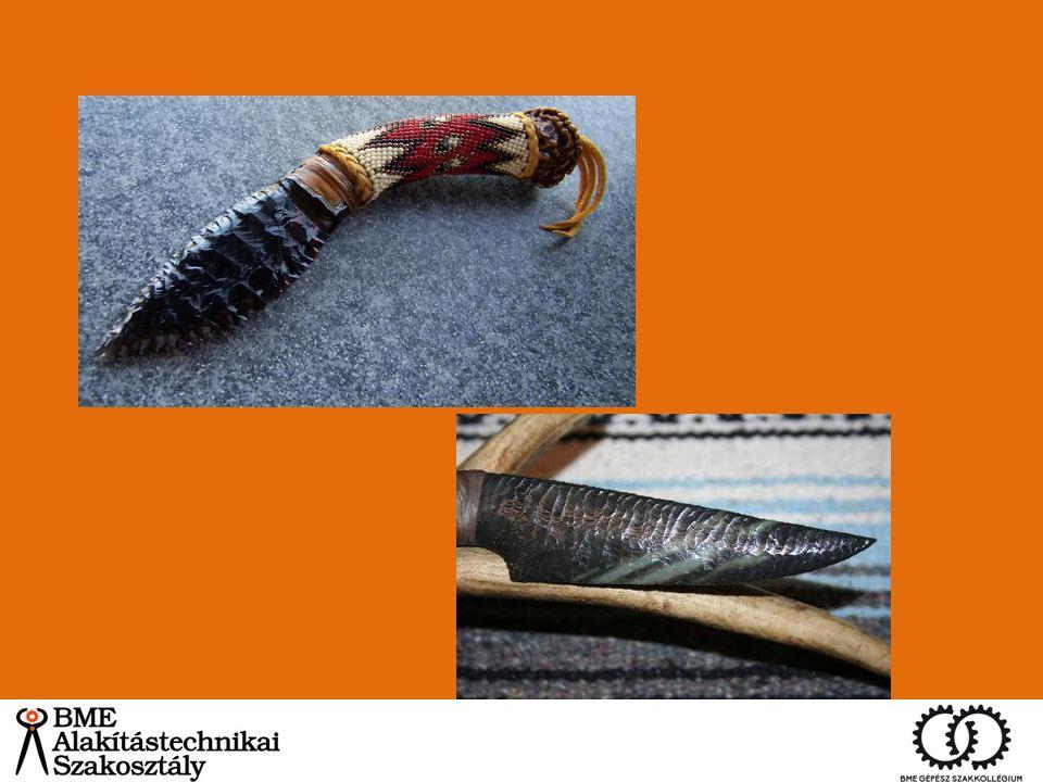 Damaszkolás/Damasztacél Két vagy több eltérő széntartalmú acél kovácshegesztése – Kelta törzsek – puhább és keményebb acélok párosítása Vikingek tovább fejlesztették a technológiát – kígyós kardok – Lapdamaszkolás -> japán kardoknál is Damaszkuszi penge Egyfajta acél, cementit háló martenzit/perlit mátrixban alakította ki a mintázatot Szén nanocsövek.