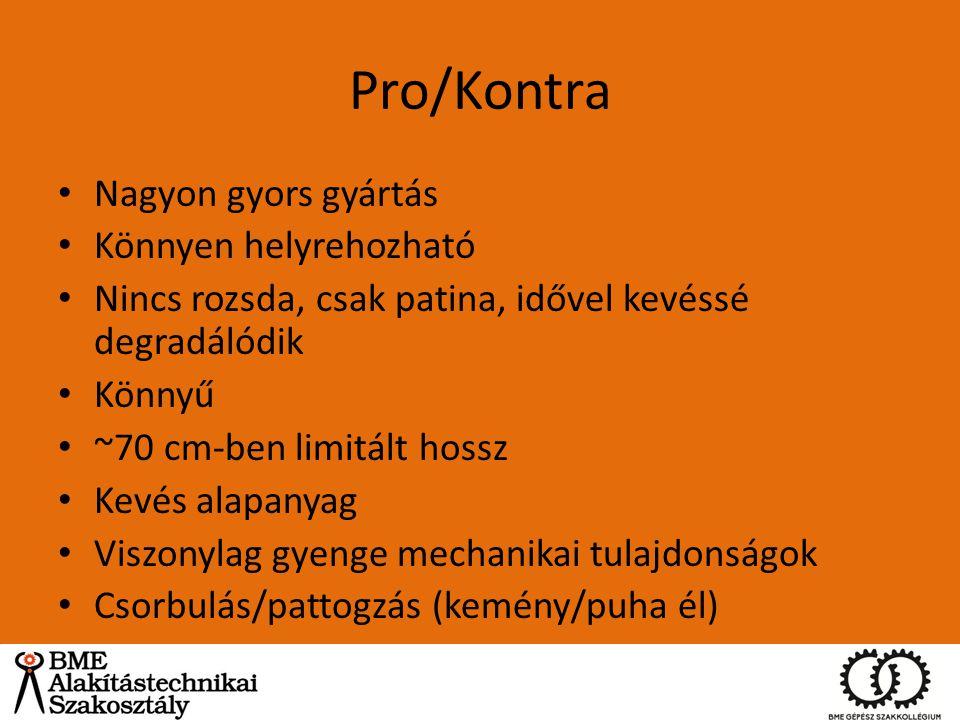 Pro/Kontra Nagyon gyors gyártás Könnyen helyrehozható Nincs rozsda, csak patina, idővel kevéssé degradálódik Könnyű ~70 cm-ben limitált hossz Kevés al