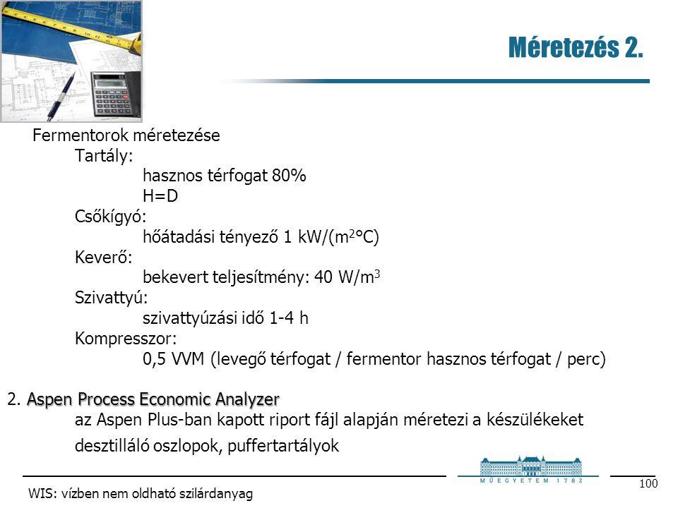 Méretezés 2. 100 Fermentorok méretezése Tartály: hasznos térfogat 80% H=D Csőkígyó: hőátadási tényező 1 kW/(m 2 °C) Keverő: bekevert teljesítmény: 40