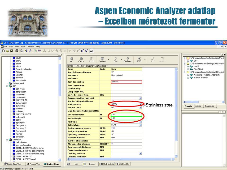 Aspen Economic Analyzer adatlap – Excelben méretezett fermentor 101 Stainless steel