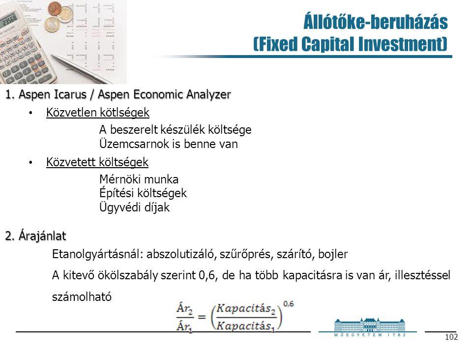 Állótőke-beruházás (Fixed Capital Investment) 102 1. Aspen Icarus / Aspen Economic Analyzer Közvetlen kötlségek A beszerelt készülék költsége Üzemcsar