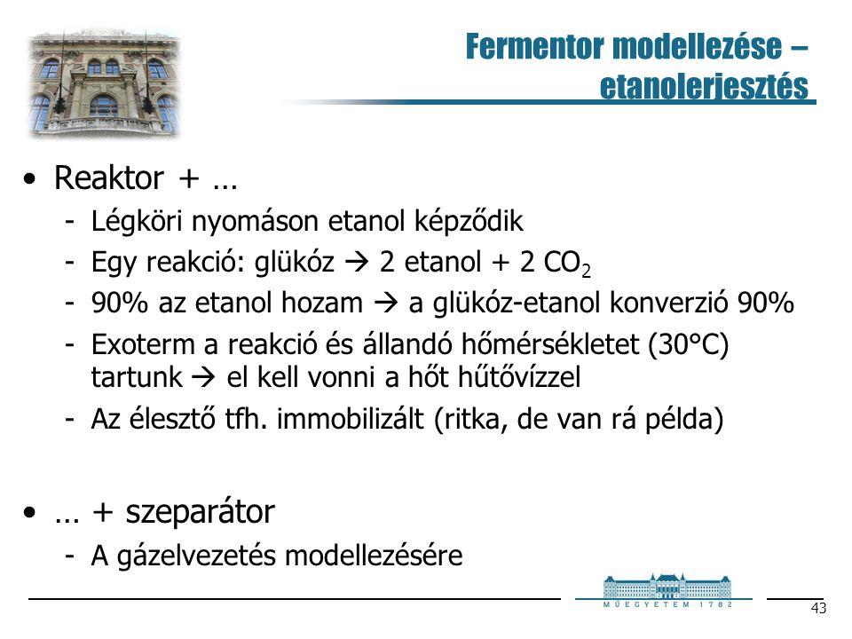 Fermentor modellezése – etanolerjesztés Reaktor + … Légköri nyomáson etanol képződik Egy reakció: glükóz  2 etanol + 2 CO 2 90% az etanol hozam 